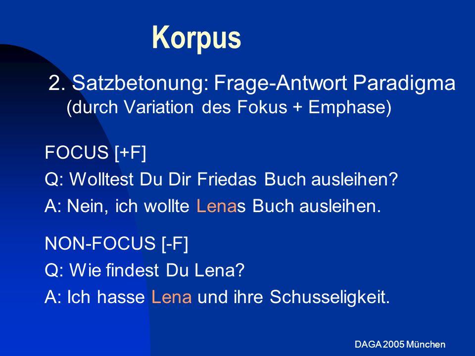 Korpus 2. Satzbetonung: Frage-Antwort Paradigma (durch Variation des Fokus + Emphase) FOCUS [+F] Q: Wolltest Du Dir Friedas Buch ausleihen